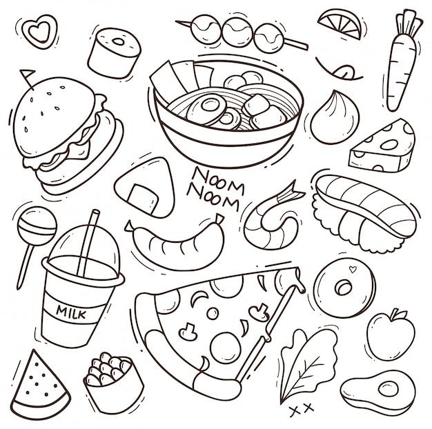 Ensemble d'illustration de nourriture doodle Vecteur Premium