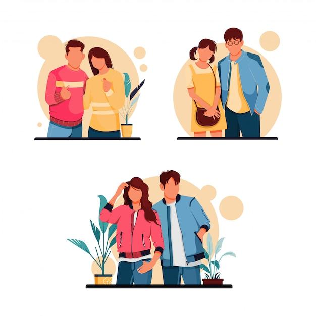Ensemble D'illustration De Personnages De Couple Romantique, Concept De Design Plat Vecteur Premium