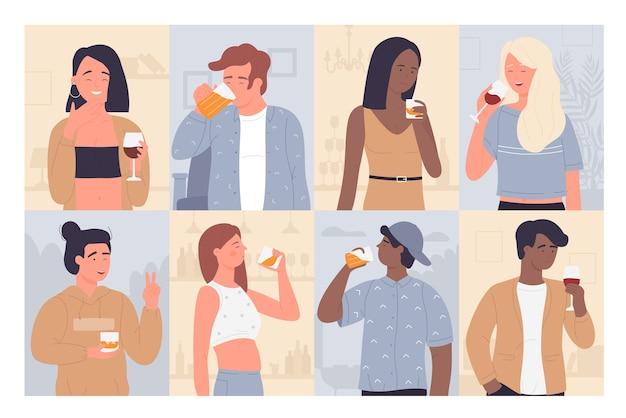 Ensemble D'illustration De Personnes à Boire. Vecteur Premium
