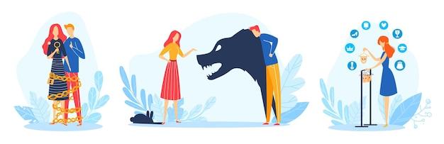 Ensemble D'illustration De Problèmes Familiaux. Vecteur Premium