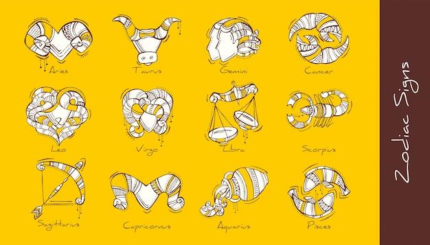Ensemble D'illustration Des Signes Du Zodiaque Dans Un Style Bohème. Bélier, Taureau, Gémeaux, Cancer, Lion, Vierge, Balance, Scorpion, Sagittaire, Capricorne, Verseau, Poissons. Vecteur Premium