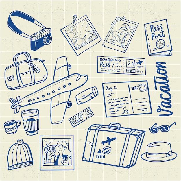 Ensemble d'illustration vacances vol voyage dessiné à la main Vecteur Premium