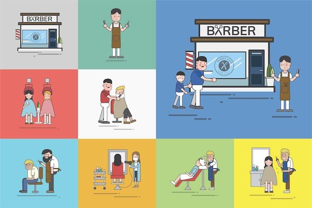 Ensemble d'illustration de vecteur de barber shop Vecteur gratuit