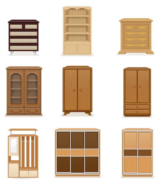 Ensemble d'illustration vectorielle armoires garde-robe de meubles réalistes Vecteur Premium