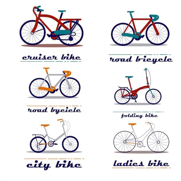 Ensemble d'illustration vectorielle de bicyclette Vecteur Premium