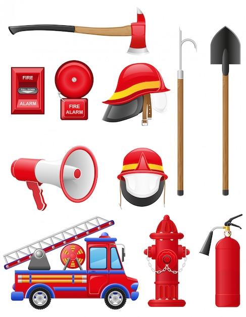 Ensemble d'illustration vectorielle de matériel de lutte contre l'incendie Vecteur Premium
