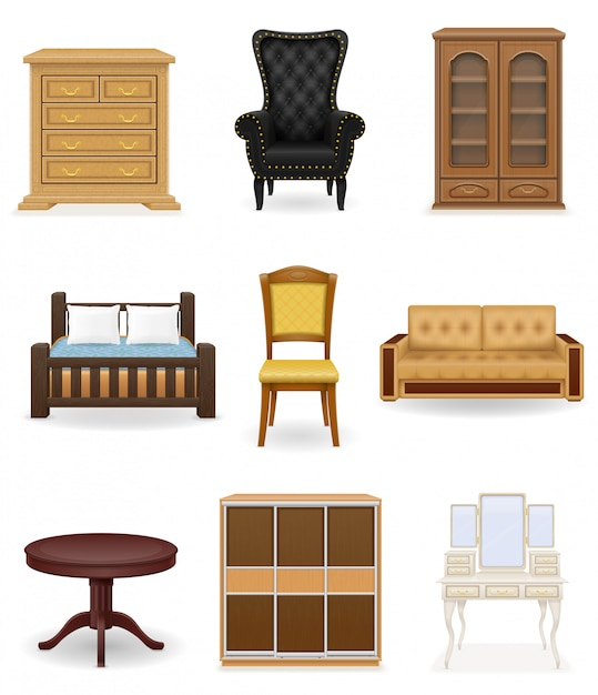 Ensemble d'illustration vectorielle de meubles. canapé, lit, chaise, bureau, penderie Vecteur Premium