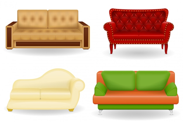 Ensemble d'illustration vectorielle de mobilier réaliste canapé Vecteur Premium
