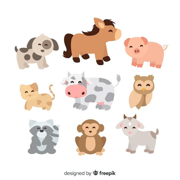 Ensemble d'illustrations d'animaux mignons Vecteur gratuit