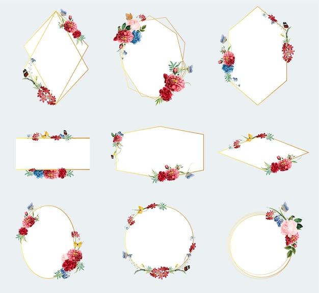 Ensemble d'illustrations de cadre floral Vecteur gratuit