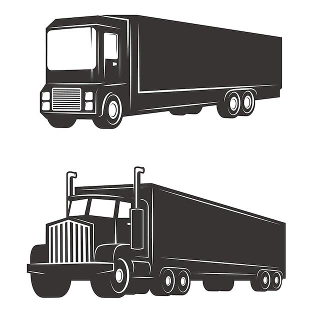 Ensemble D'illustrations De Camion De Fret Sur Fond Blanc. éléments Pour Logo, étiquette, Emblème, Signe, Marque. Vecteur Premium