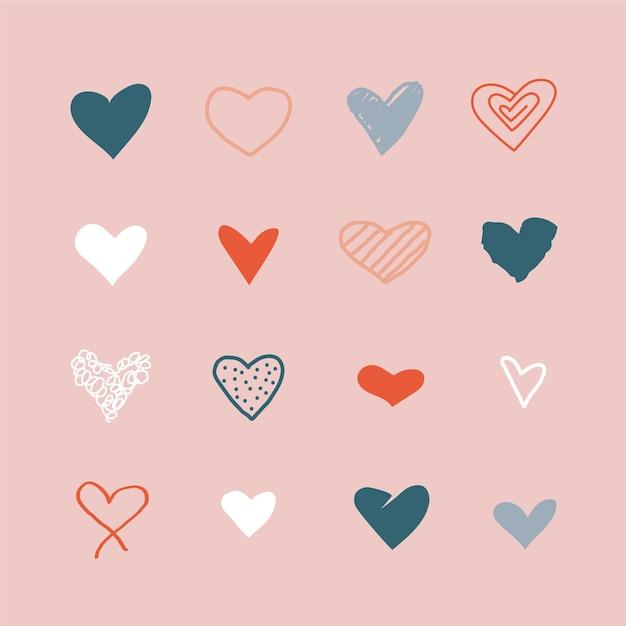 Ensemble D'illustrations De Coeur Dessinés à La Main Vecteur Premium