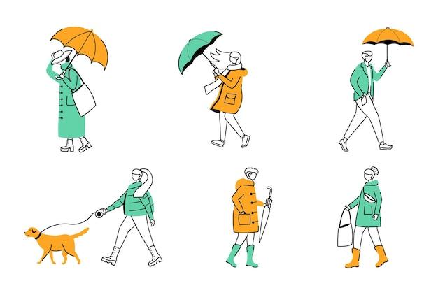 Ensemble D & # 39; Illustrations De Contour Plat Parapluies Vecteur Premium