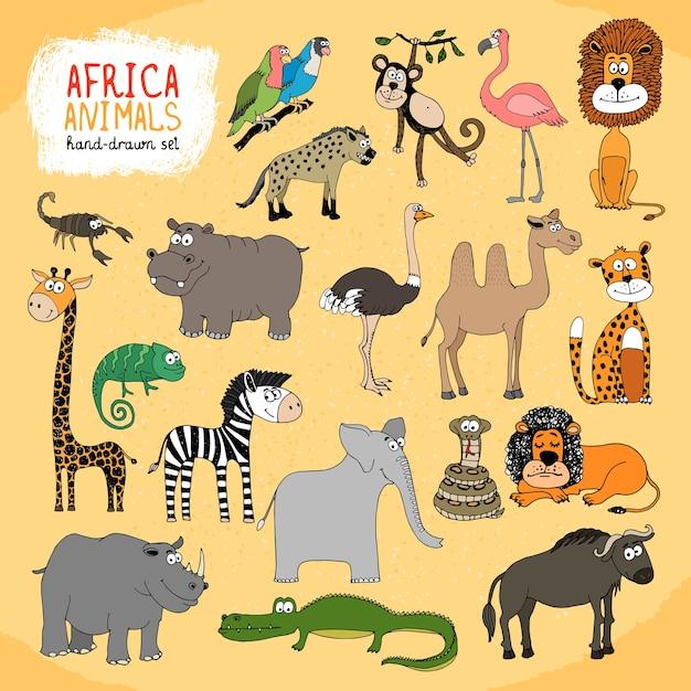 Ensemble D'illustrations Dessinées à La Main D'animaux D'afrique Vecteur gratuit