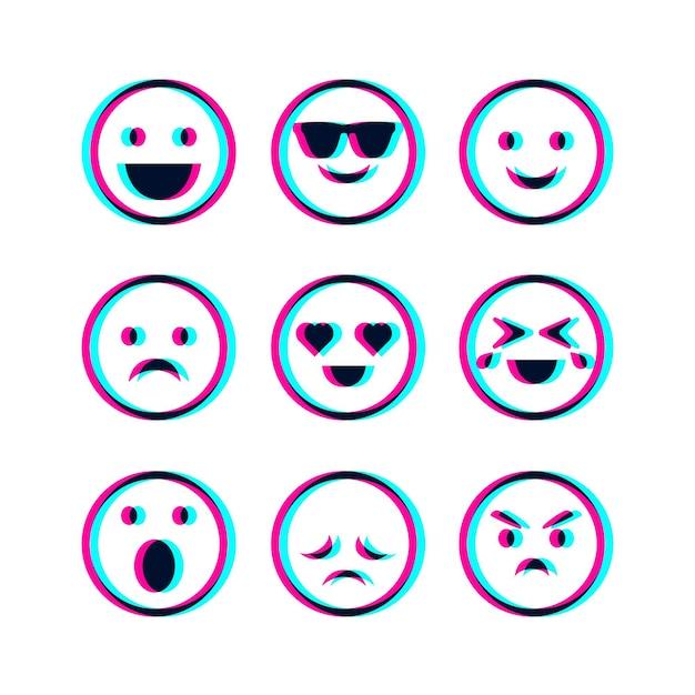 Ensemble D'illustrations Emojis Glitch Vecteur gratuit