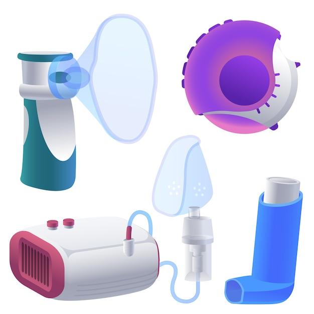 Ensemble D'illustrations D'inhalateur. Dessin Animé Vecteur Premium
