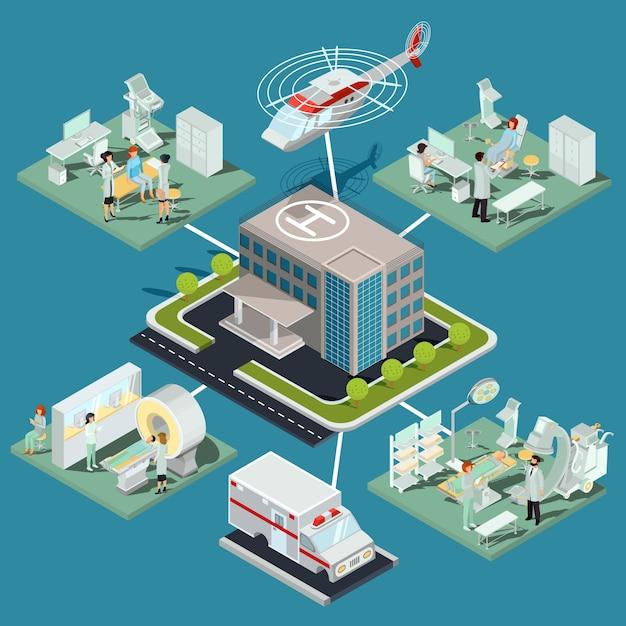Ensemble d'illustrations isométriques plates en 3d de la clinique médicale et des locaux médicaux avec l'équipement approprié Vecteur gratuit