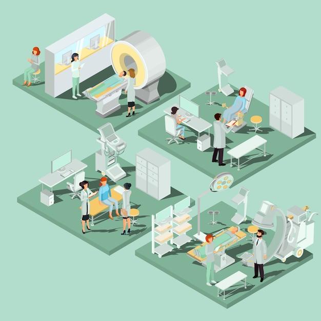 Ensemble d'illustrations isométriques plates en 3d de locaux médicaux dans la clinique avec l'équipement approprié Vecteur gratuit