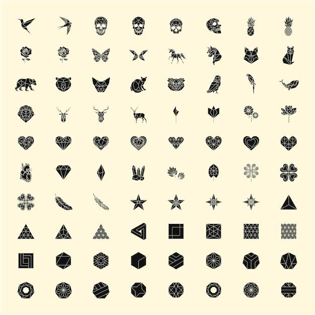 Ensemble d'illustrations linéaires de formes et d'icônes Vecteur gratuit