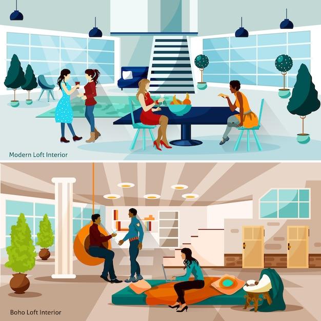Ensemble d'illustrations loft studio Vecteur gratuit