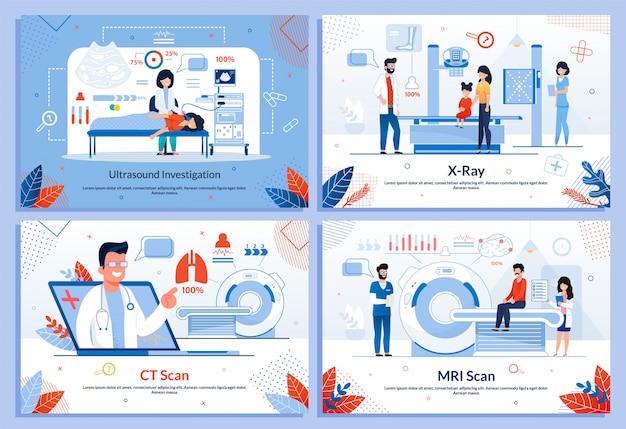 Ensemble d'illustrations de méthodes de diagnostic instrumentales Vecteur Premium
