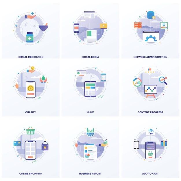 Ensemble d'illustrations à plat seo Vecteur Premium