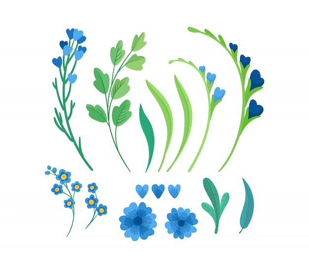 Ensemble D'illustrations Plates D'éléments De Fleurs. Vecteur Premium