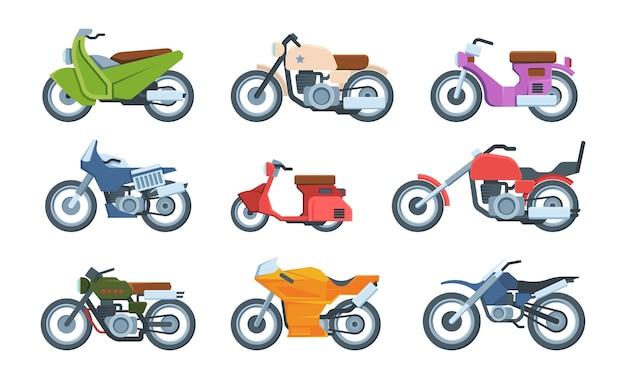 Ensemble D'illustrations Plats De Motos Modernes Et Rétro. Collection De Motos Sportives Transport Motosport. Cyclomoteur, Cruiser, Hachoir. Vecteur Premium