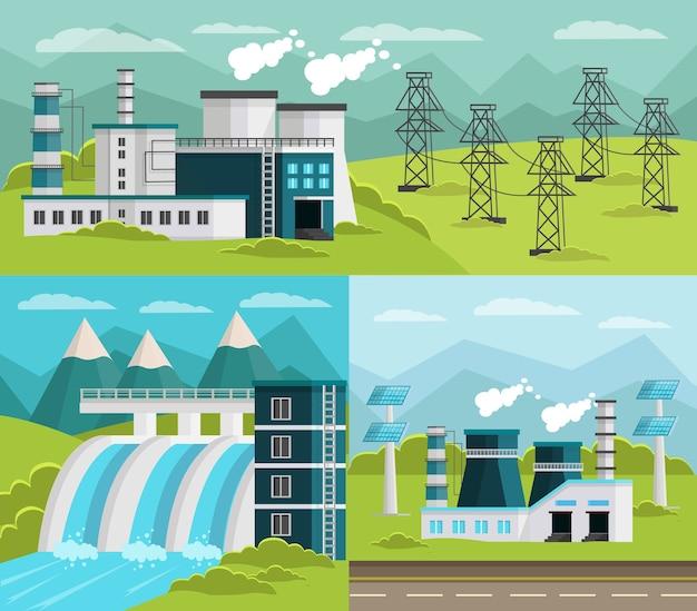 Ensemble D'illustrations De Production D'énergie Vecteur gratuit