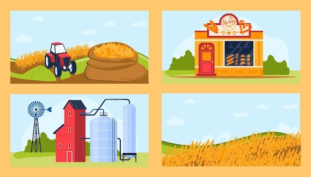 Ensemble D'illustrations De Produits Agricoles De Blé. Vecteur Premium