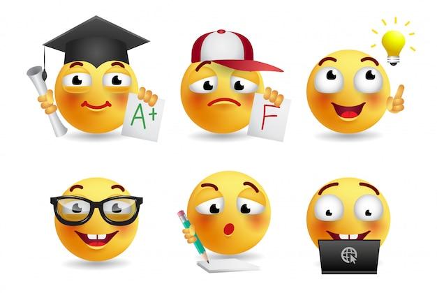 Ensemble d'illustrations réalistes de smileys Vecteur gratuit