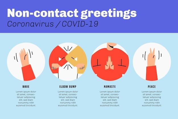 Ensemble D'illustrations De Salutations Sans Contact Vecteur gratuit