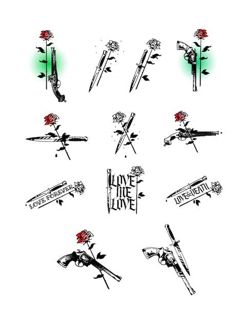 Ensemble d'illustrations de tatouage, pistolets, couteaux et roses Vecteur Premium