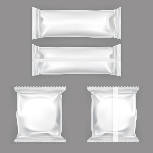Ensemble D'illustrations Vectorielles D'emballage En Plastique Blanc Pour Snacks Vecteur gratuit