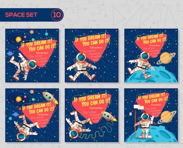 Ensemble d'illustrations vectorielles sur l'espace. Vecteur Premium