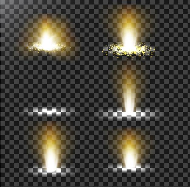 Ensemble D'illustrations Vectorielles D'un Rayon Lumineux Doré Avec Un Paillettes, Un Faisceau Lumineux Vecteur gratuit