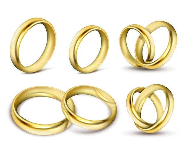 Ensemble D'illustrations Vectorielles Réalistes D'anneaux De Mariage En Or Avec Des Ombres Vecteur gratuit