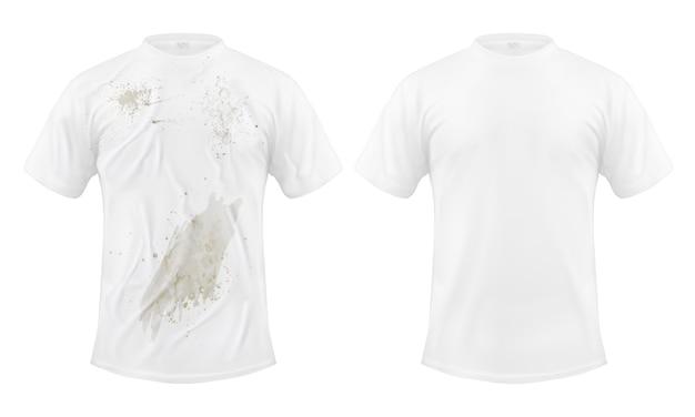 Ensemble D'illustrations Vectorielles D'un T-shirt Blanc Avec Une Tache Sale Et Propre, Avant Et Après Le Nettoyage à Sec Vecteur gratuit