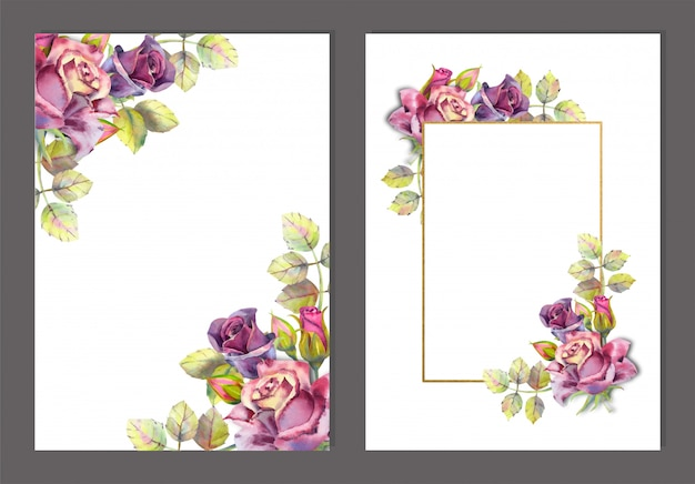 Ensemble d'images avec des fleurs à l'aquarelle. roses sombres sur blanc Vecteur Premium