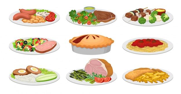 Ensemble D'images De Plats Cuisinés. Pirg, Pâtes, Boulettes De Viande, Côtelette, Bacon, Jambon. Illustration Vectorielle Vecteur Premium