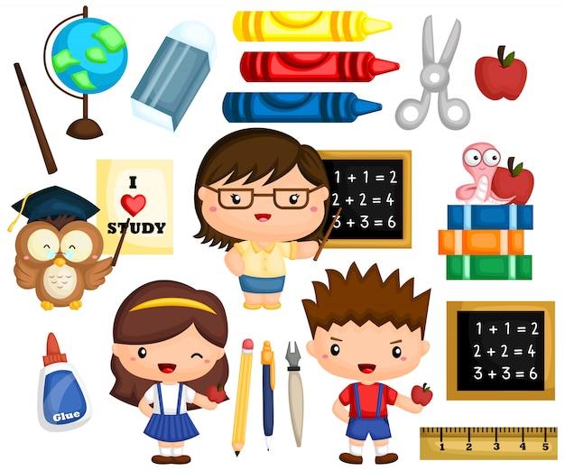 Ensemble d'images scolaires Vecteur Premium