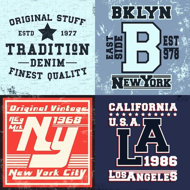 Ensemble D'impression Design Vintage Pour Timbre De T-shirt Vecteur Premium