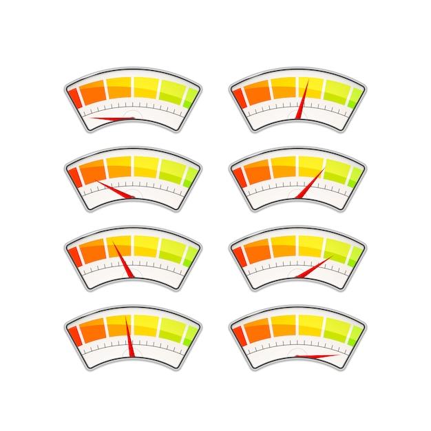 Ensemble D'indicateurs De Mesure Des Performances Avec Différentes Zones De Valeur Sur Blanc Vecteur Premium