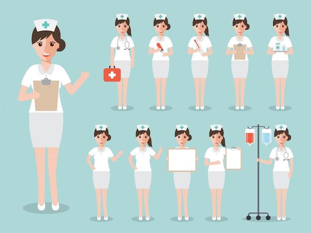 Ensemble d'infirmières et de personnel médical. Vecteur Premium