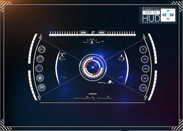 Ensemble D'infographie Bleu Futuriste Comme Affichage Tête Haute. Affichez Les éléments De Navigation Pour Le Web Et L'application. Vecteur Premium