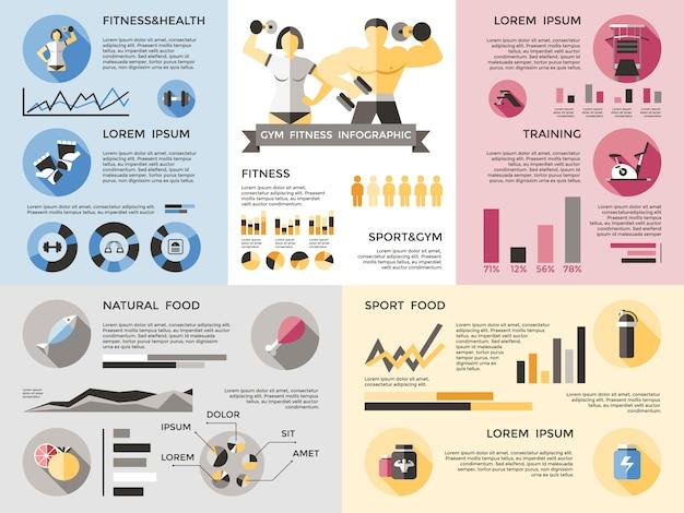 Ensemble D & # 39; Infographie De Fitness Gym Vecteur gratuit