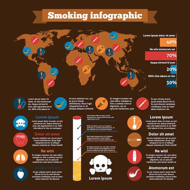 Ensemble d'infographie de fumer Vecteur Premium