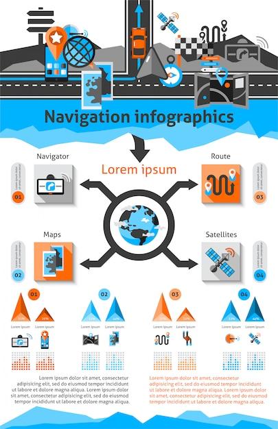 Ensemble d'infographie de navigation Vecteur gratuit