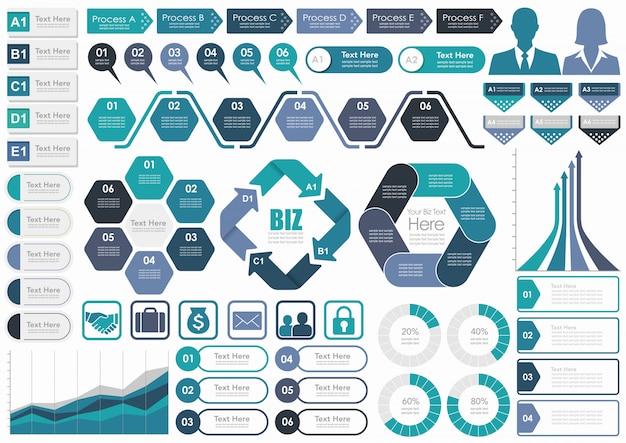 Ensemble d'infographies professionnelles variées Vecteur Premium