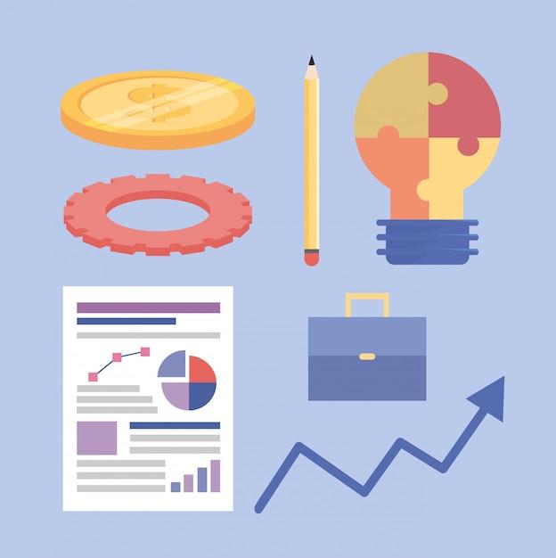Ensemble d'informations sur le travail d'équipe de stratégie commerciale Vecteur gratuit